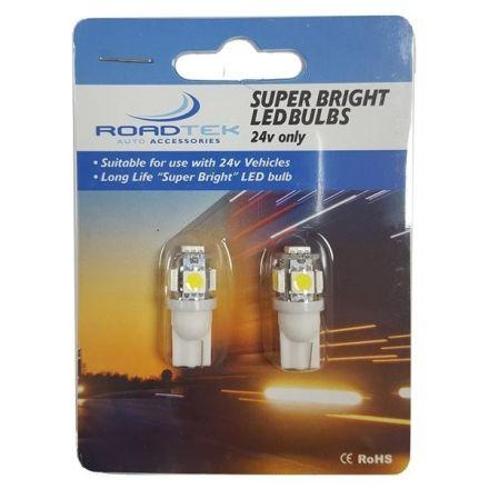 ROADTEK T10-5SMD(WH) 24V  LED BULBS  (WHITE) - 2PCS/PK