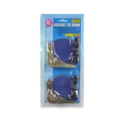 ALL RIDE HEAVY DUTY RATCHET TIE DOWN 2 x 5M HOOKS & RATTLE