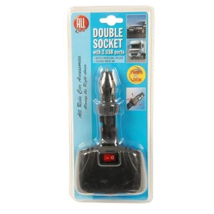 ALL RIDE DOUBLE CIGARETTE ADAPTOR WITH 2 X USB SOCKETS