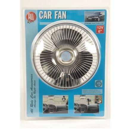 DISCONTINUED ALL RIDE 12V / 6 INCH CAR FAN WITH STRONG SUCTION CUP