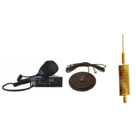 "CB Radio & Antenna Kit - Moonraker Minor II Plus 80ch 12v/24v CB Radio + Yellow Tornado CB Antenna + 7"" Mag Mount (CB KIT)"