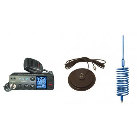 "Deluxe CB Radio Kit - Intek M-899 CB Radio + Blue Tornado Antenna + 7"" Mag Mount"