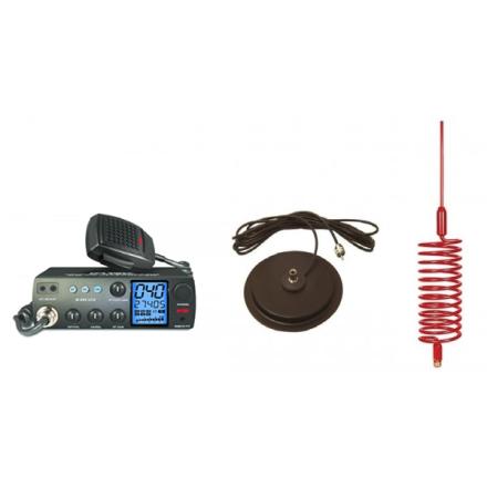 "Deluxe CB Radio Kit - Intek M-899 CB Radio + Red Tornado Antenna + 7"" Mag Mount"