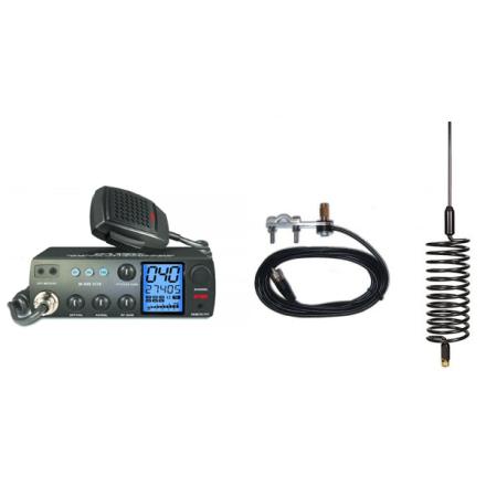 Deluxe CB Radio Kit - Intek M-899 CB Radio + Black Tornado Antenna + Mirror Mount