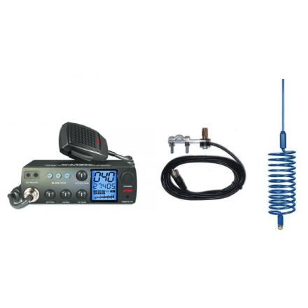 Deluxe CB Radio Kit - Intek M-899 CB Radio + Blue Tornado Antenna + Mirror Mount