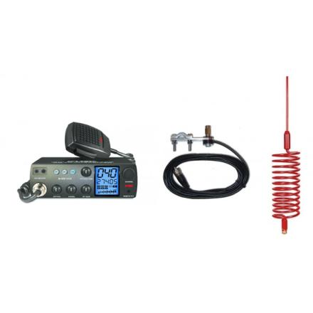 Deluxe CB Radio Kit - Intek M-899 CB Radio + Red Tornado Antenna + Mirror Mount