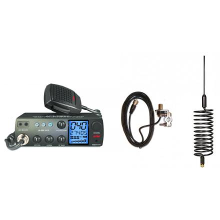 Deluxe CB Radio Kit - Intek M-899 CB Radio + Black Tornado Antenna + Rail Mount