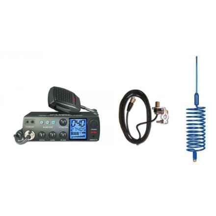 Deluxe CB Radio Kit - Intek M-899 CB Radio + Blue Tornado Antenna + Rail Mount