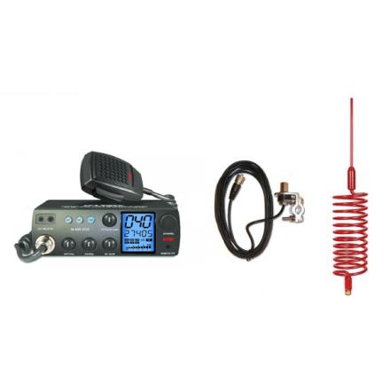 Deluxe CB Radio Kit - Intek M-899 CB Radio + Red Tornado Antenna + Rail Mount