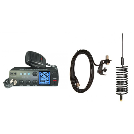 Deluxe CB Radio Kit - Intek M-899 CB Radio + Black Tornado Antenna + Gutter Mount