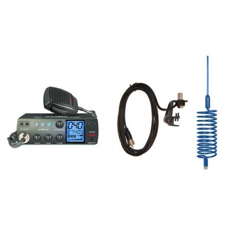 Deluxe CB Radio Kit - Intek M-899 CB Radio + Blue Tornado Antenna + Gutter Mount