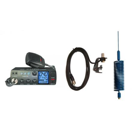 Deluxe CB Radio Kit - Intek M-899 CB Radio + Blue Tornado Mini Antenna + Gutter Mount
