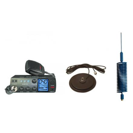 "Deluxe CB Radio Kit - Intek M-899 CB Radio + Blue Tornado Mini Antenna + 7"" Mag Mount"