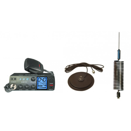 "Deluxe CB Radio Kit - Intek M-899 CB Radio + Chrome Tornado Mini Antenna + 7"" Mag Mount"