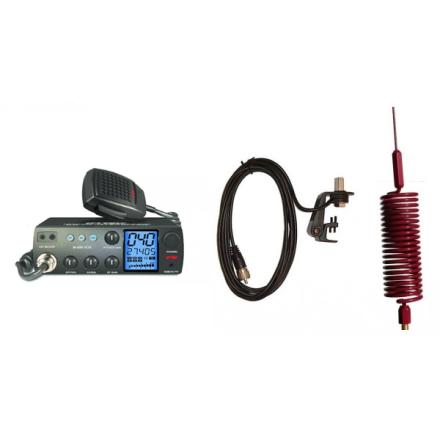 Deluxe CB Radio Kit - Intek M-899 CB Radio + Red Tornado Mini Antenna + Gutter Mount