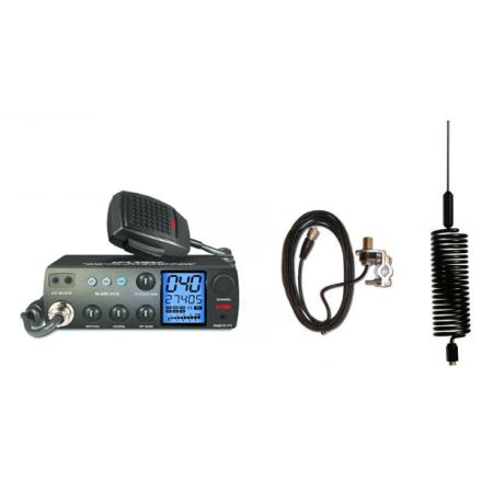 Deluxe CB Radio Kit = Intek M-899 CB Radio + Black Tornado Mini Antenna + Rail Mount