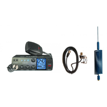 Deluxe CB Radio Kit - Intek M-899 CB Radio + Blue Tornado Mini Antenna + Rail Mount