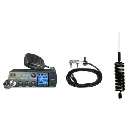 Deluxe CB Radio Kit - Intek M-899 CB Radio + Black Tornado Mini Antenna + Mirror Mount