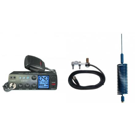 Deluxe CB Radio Kit - Intek M-899 CB Radio + Blue Tornado Mini Antenna + Mirror Mount