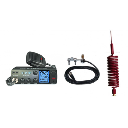 Deluxe CB Radio Kit - Intek M-899 CB Radio + Red Tornado Mini Antenna + Mirror Mount