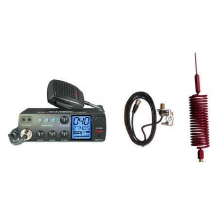 Deluxe CB Radio Kit - Intek M-899 CB Radio + Red Tornado Mini Antenna + Rail Mount