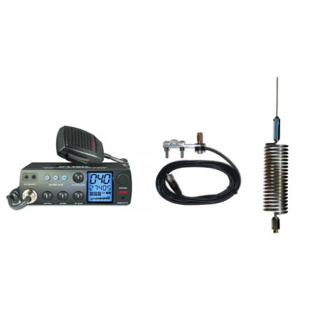 Deluxe CB Radio Kit - Intek M-899 CB Radio + Chrome Tornado Mini Antenna + Mirror Mount