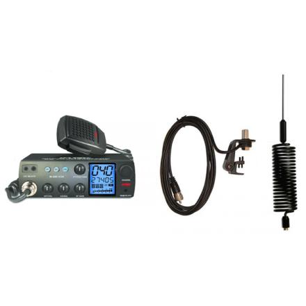 Deluxe CB Radio Kit - Intek M-899 CB Radio + Black Tornado Mini Antenna + Gutter Mount