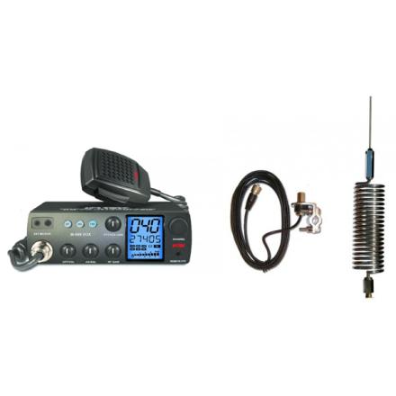 Deluxe CB Radio Kit - Intek M-899 CB Radio + Chrome Tornado Mini Antenna + Rail Mount