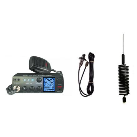 Deluxe CB Radio Kit - Intek M-899 CB Radio + Black Tornado Mini Antenna + Roof Mount