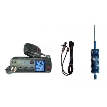 Deluxe CB Radio Kit - Intek M-899 CB Radio + Blue Tornado Mini Antenna + Roof Mount