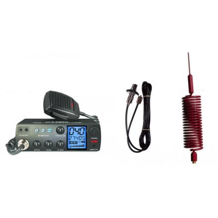 Deluxe CB Radio Kit - Intek M-899 CB Radio + Red Tornado Mini Antenna + Roof Mount