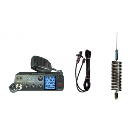Deluxe CB Radio Kit - Intek M-899 CB Radio + Chrome Tornado Mini Antenna + Roof Mount