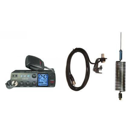 Deluxe CB Radio Kit - Intek M-899 CB Radio + Chrome Tornado Mini Antenna + Gutter Mount