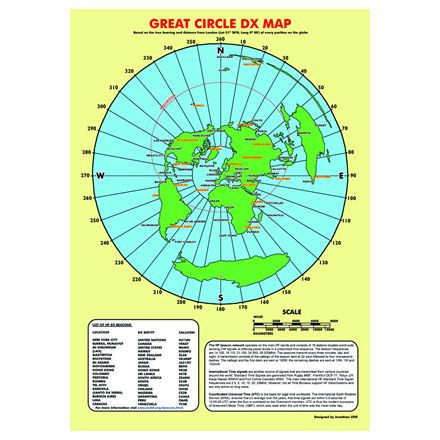 GRTD-Map A3 Size Great Circle DX Map