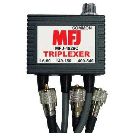MFJ-4926C* - 1.6-60Mhz/VHF/UHF Triplexer -Pigtail PL