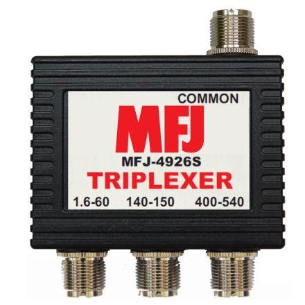 MFJ-4926S* - 1.6-60Mhz/VHF/UHF Triplexer- SO-239