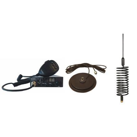 "CB Radio & Antenna Kit - Moonraker Minor II Plus 80ch 12v/24v CB Radio + Black Tornado CB Antenna + 7"" Mag Mount (CB Kit)"