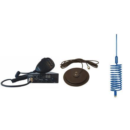 "CB Radio & Antenna Kit - Moonraker Minor II Plus 80ch 12v/24v CB Radio + Blue Tornado Antenna + 7"" Mag Mount (CB Kit)"