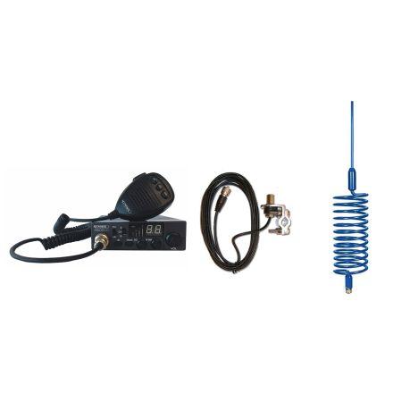 CB Radio & Antenna Kit - Moonraker Minor II Plus 80ch 12v/24v CB Radio + Blue Tornado Antenna + Rail Mount (CB Kit)