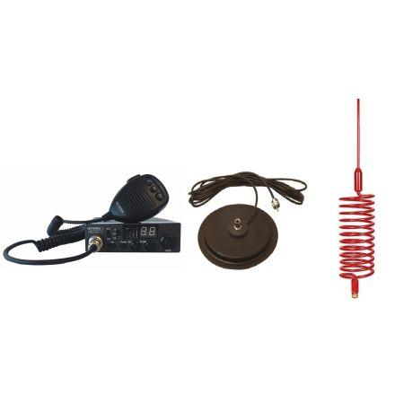 "CB Radio & Antenna Kit - Moonraker Minor II Plus 80ch 12v/24v CB Radio + Red Tornado CB Antenna + 7"" Mag Mount (CB Kit)"