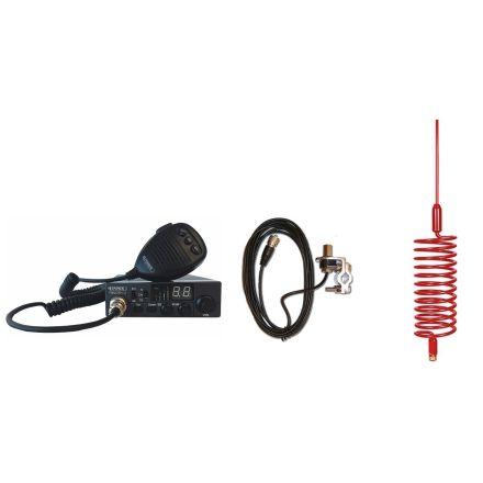 CB Radio & Antenna Kit - Moonraker Minor II Plus 80ch 12v/24v CB Radio + Red Tornado Antenna + Rail Mount (CB Kit)