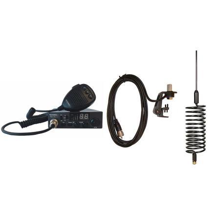 CB Radio & Antenna Kit - Moonraker Minor II Plus 80ch 12v/24v CB Radio + Black Tornado CB Antenna + Gutter Mount (CB Kit)