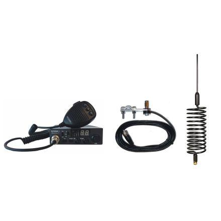 CB Radio & Antenna Kit - Moonraker Minor II Plus 80ch 12v/24v CB Radio + Black Tornado CB Antenna + Mirror Mount (CB Kit)