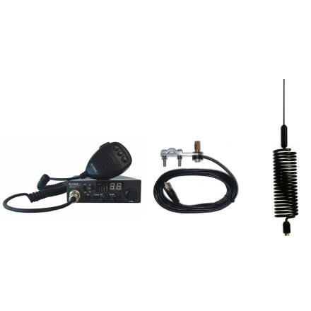 CB Radio & Antenna Kit - Moonraker Minor II Plus 80ch 12v/24v CB Radio + Black Mini Tornado CB Antenna + Mirror Mount (CB Kit)