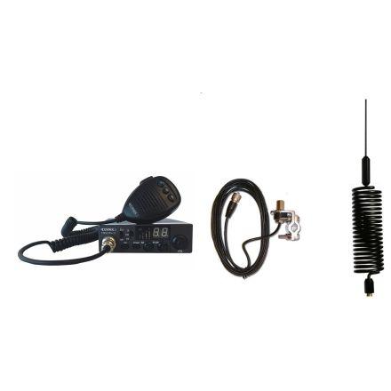 CB Radio & Antenna Kit - Moonraker Minor II Plus 80ch 12v/24v CB Radio + Black Mini Tornado CB Antenna + Rail Mount (CB Kit)