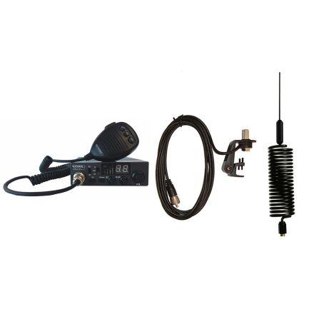 CB Radio & Antenna Kit - Moonraker Minor II Plus 80ch 12v/24v CB Radio + Black Mini Tornado CB Antenna + Gutter Mount (CB Kit)
