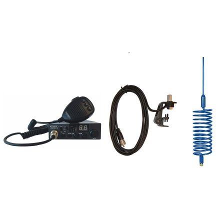 CB Radio & Antenna Kit - Moonraker Minor II Plus 80ch 12v/24v CB Radio + Blue Tornado Antenna + Gutter Mount (CB Kit)