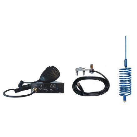CB Radio & Antenna Kit - Moonraker Minor II Plus 80ch 12v/24v CB Radio + Blue Tornado Antenna + Mirror Mount (CB Kit)