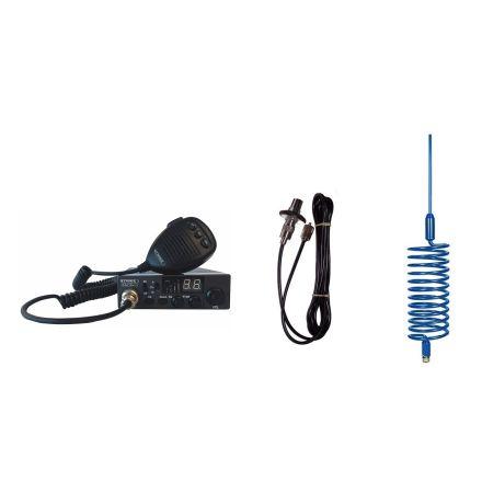 CB Radio & Antenna Kit - Moonraker Minor II Plus 80ch 12v/24v CB Radio + Blue Tornado Antenna + Roof Stud Mount (CB Kit)