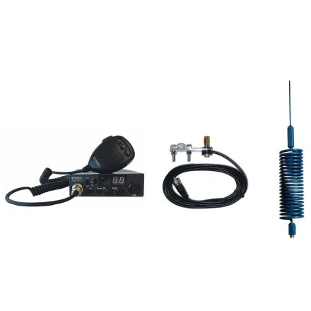 CB Radio & Antenna Kit - Moonraker Minor II Plus 80ch 12v/24v CB Radio + Blue Mini Tornado Antenna + Mirror Mount (CB Kit)